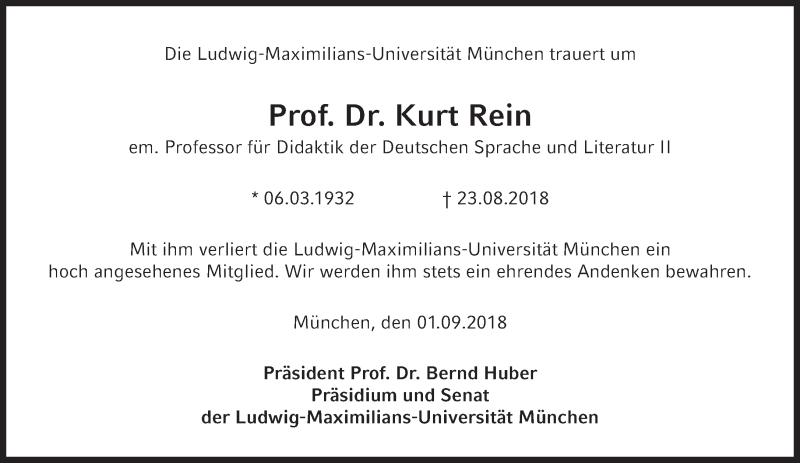 Kurt-Rein-Traueranzeige